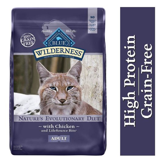 Kitty Food,  Blue Buffalo Wilderness High Protein Grain Free, Natural Adult Dry Cat Food.